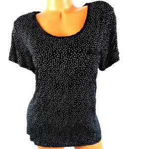Midnight black white polka-dot short sleeve top